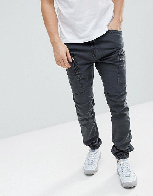 99004516bf9a Superdry cargo PANTS with cuffed hem in black