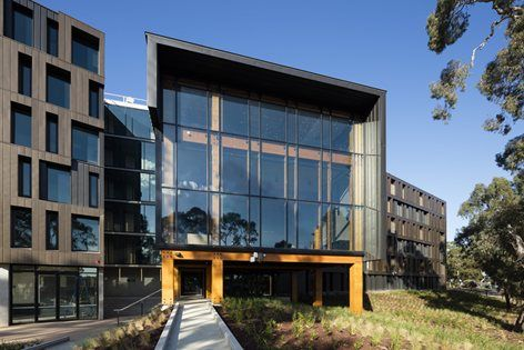 Walert House, RMIT Bundoora is built around a social and educational central 'core hub' with two accommodation wings branching out from this. The hub is a timber structure, using laminated veneer lumbar (LVL), while the accommodation wings are clad...