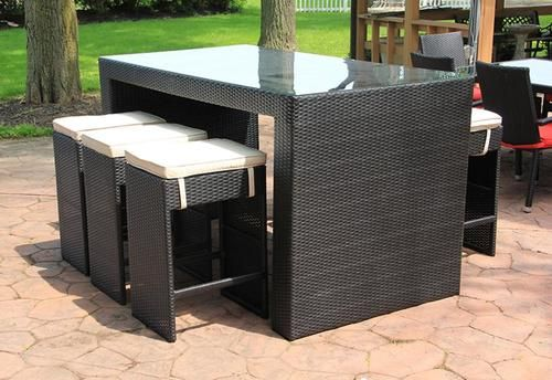 7-Piece Black Resin Wicker Outdoor Furniture Bar Dining Set - Beige Cushions