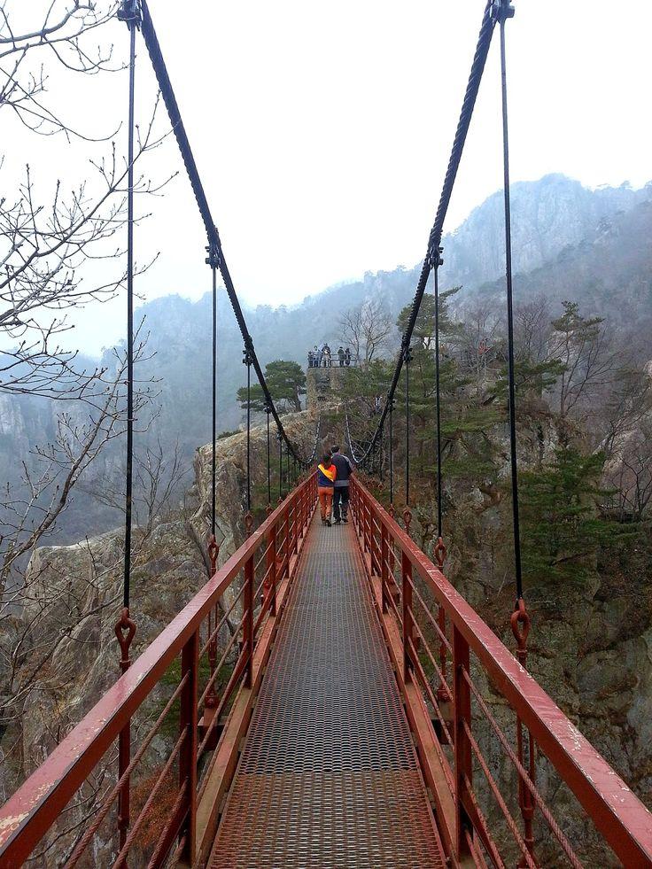 Suspension bridge on Mt. Daedun in Daejeon, Korea