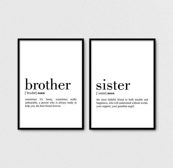Brother and Sister Print Set of 2 Definition, Sister Definition Print, Brother Printable, Brother Wall Art, Sister Gift For Brother (W0673)