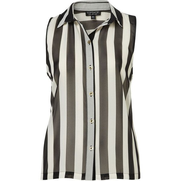 TOPSHOP Sleeveless Stripe Shirt (£15) found on Polyvore featuring women's fashion, tops, blouses, shirts, topshop, stripes, black, striped sleeveless shirt, stripe blouse and stripe shirt