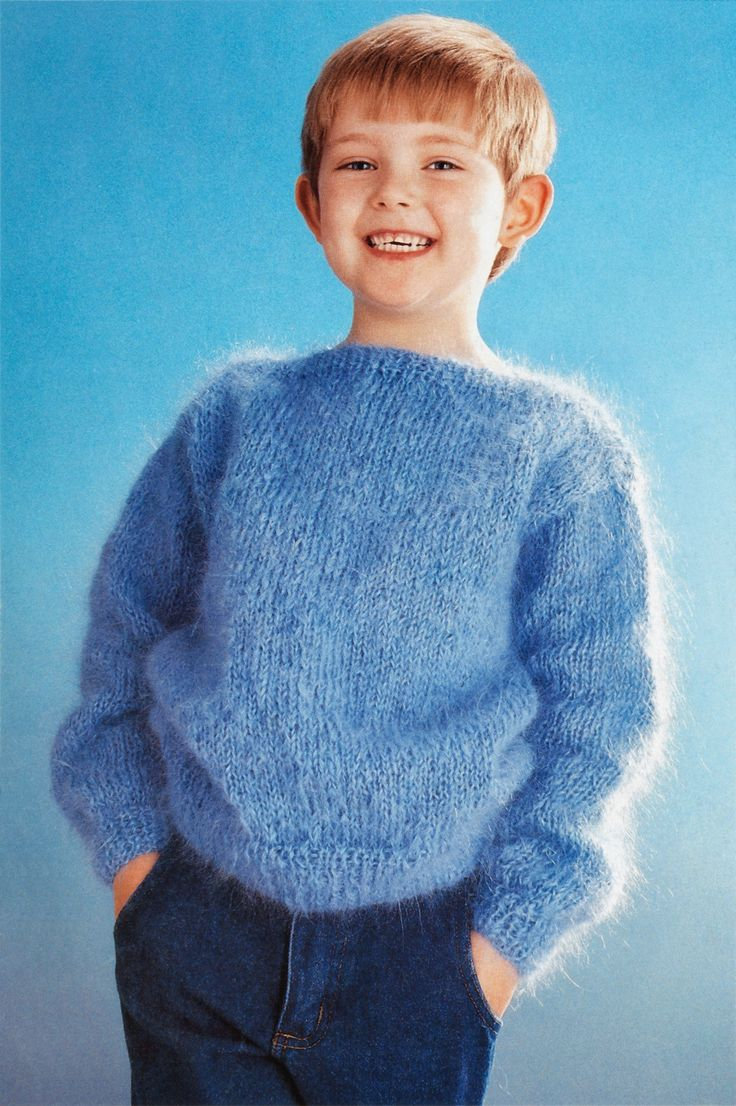 boys kids mohair sweater, photo from hayfield knitting pattern fuzzy fluffy childrens