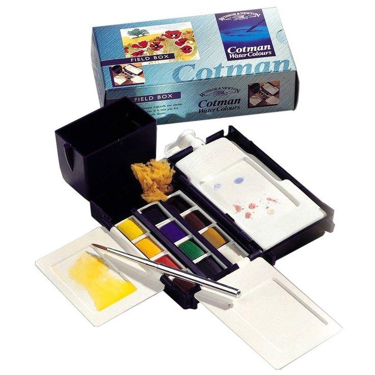 Amazon.de: Winsor & Newton Aquarellkasten mit Cotman Aquarellfarben Field Box ideal auch als Reiseset, Urlaub, etc.. incl. Pinsel, Aquarellschwamm, Palette....