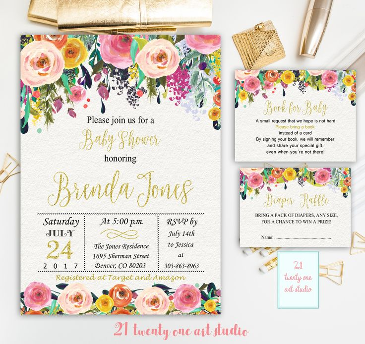 Floral Baby Shower Invitation, + Book for Baby + Diaper Raffle, Pink and Gold invitation, Book for baby and Diaper Raffle PACKAGE