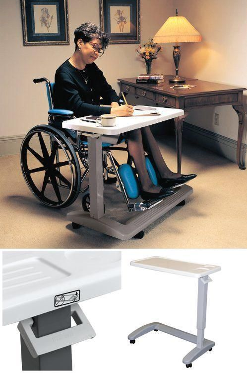 Adjustable Hospital Table Bed Over Wheelchair Overbed Tray Rolling Medical Chair #CarexHealthBrands