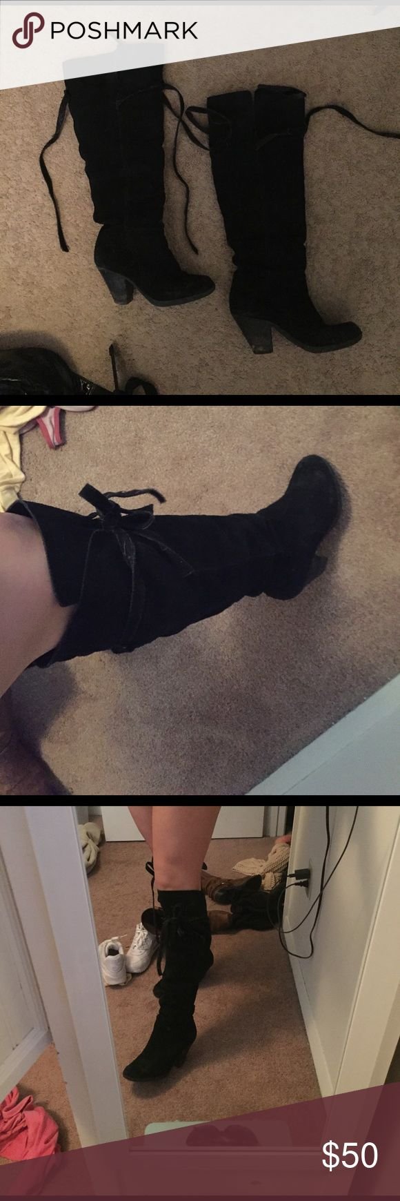 Suede Black Knee High Nordstrom boots Black suede worn knee high boots. There is a lie around the knee, very cute to tie in boot. The ties have frayed a bit, these boots have definitely been more but they are meant to look like that. I have shown the damages on the bottom but other than that these boots are in great condition. I bought from Nordstrom for $200, but because of the bottom damage I dropped the price a lot. However since it's on the bottom you cannot see it when wearing. Such a…