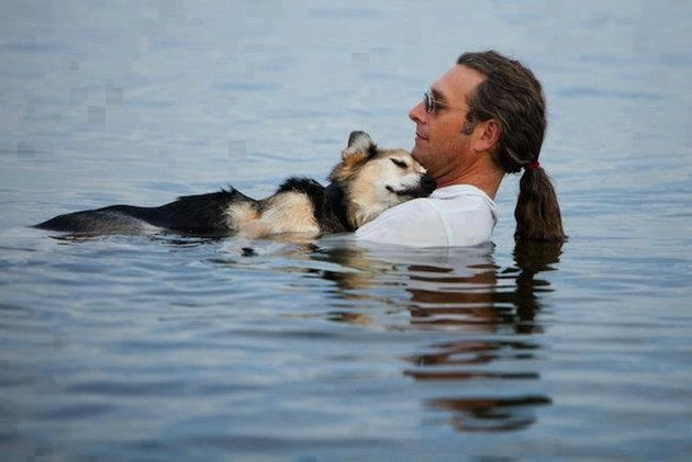This man from Wisconsin spends hours holding his dog in a lake to sooth the dog's arthritis. He does it daily. The dog is so comforted that it falls asleep in his arms. That's love.... ♥