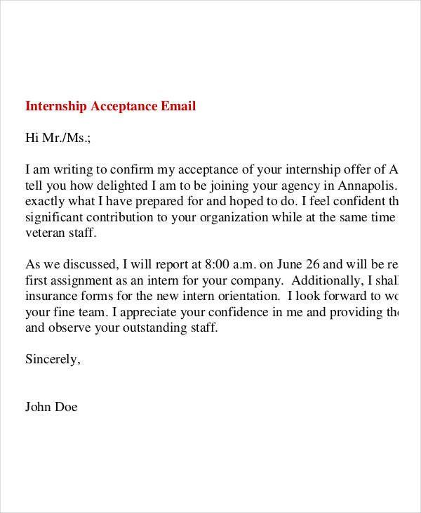 Acceptance Letter For Internship Offer Unique 8 Internship Fer