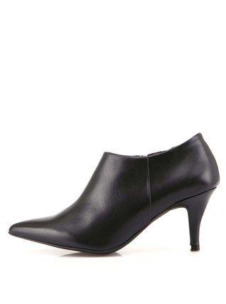 OJJU - Černé kožené boty na podpatku - 1