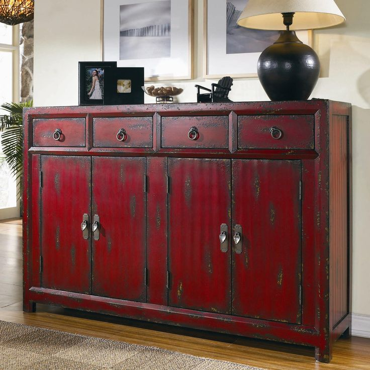 Chests and Consoles Red Asian Cabinet by Hooker Furniture