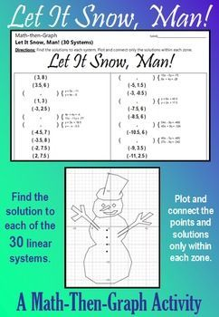 Celebrate Winter with this festive coordinate graphing activity. Students solve 30 different systems of equations to complete the list of coordinate points. Then students plot the points, connecting as they go, but only within the designated zones. When they are done, they will have a picture of a wonderful Snowman who just wants to Let it Snow, Man!Don't forget to download a copy of my custom-made FREE GRAPH PAPER.Here are some tips: [1] All points will be on one grid line or another. [2]…