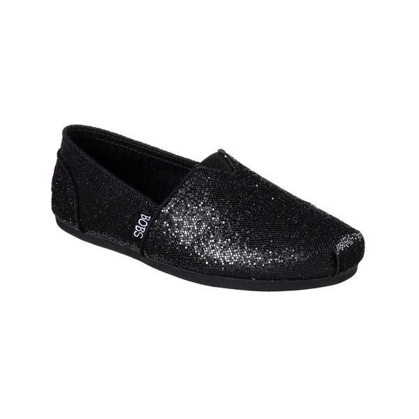 Women's Skechers BOBS Plush Friday Night Alpargata ($42) ❤ liked on Polyvore featuring shoes, sneakers, black, casual, casual shoes, black sparkly flats, glitter slip on sneakers, slip-on sneakers, sparkly flats and black slip-on shoes