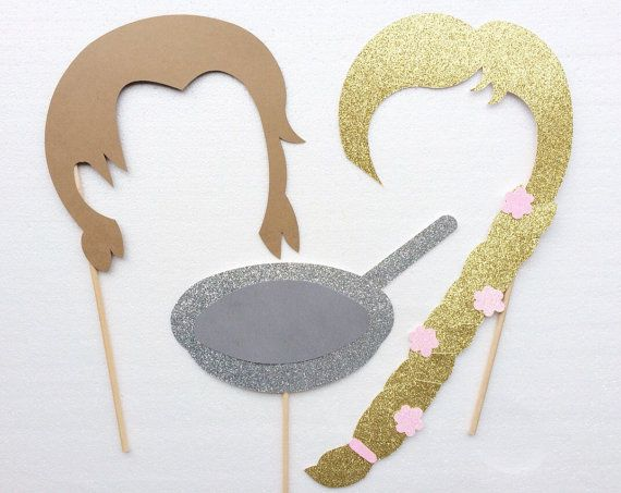 Tangled Inspired Photo Booth Props ; Prince and Princess ; Disney Birthday Party ; Disney Party Decorations ; Disney Photo Booth ; Disney Wedding by LetsGetDecorative