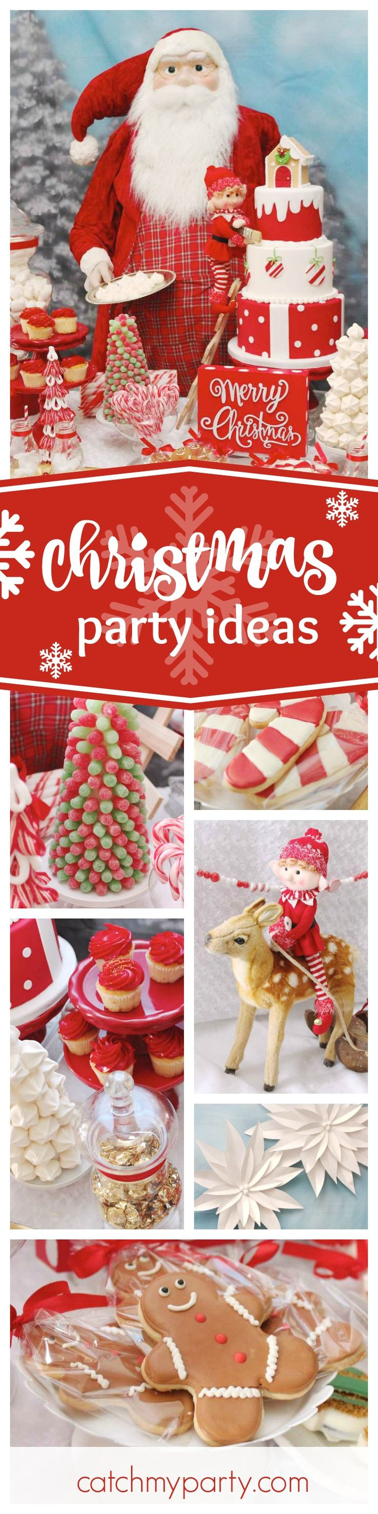 Check out this cheerful Santa's Little Bakery Christmas party. The elves decorating the dessert table are just so much fun! See more party ideas and share yours at CatchMyParty.com