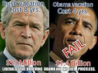 Bush vs. Obama vacation costs and now we are 17 Trillion in debt and Barry and Michelle are going to Africa and spend 100 million of our tax dollars doing it. I say no!