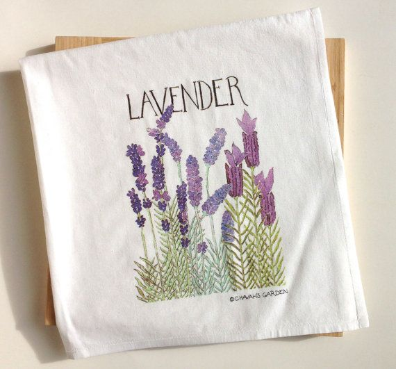 A flour sack tea towel made of 100% cotton with a permanent, silk screen-printed image of my watercolor of lavender. The size is approximately 30