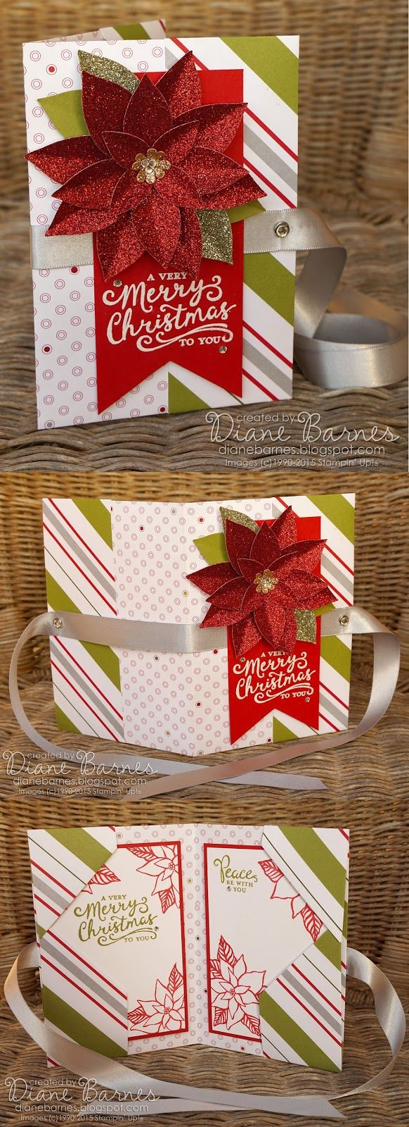 No-cut patterned paper gift card folder & tutorial for Christmas with Stampin Up Merry Moments, Festive Flower poinsettia & Reason for the Season. By Di Barnes #colourmehappy #2015Holidaycatalogue #stampinup