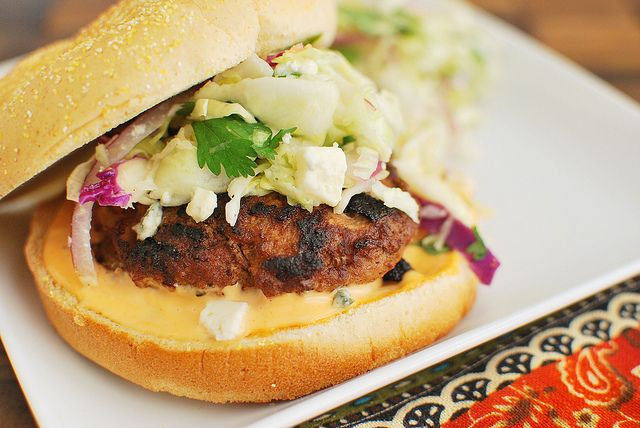 Buffalo Wing Burgers with Blue Cheese Slaw | Fake Ginger