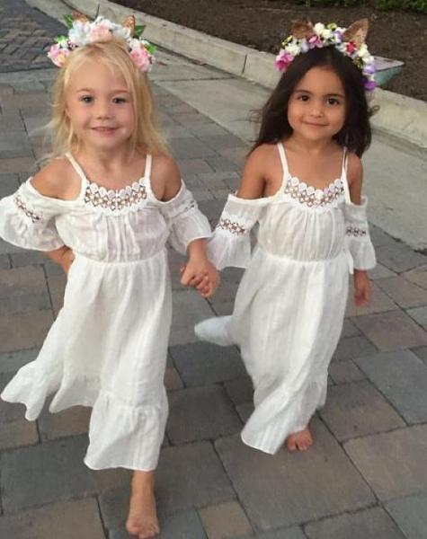c9da2c4db995 Girls White Cold Shoulder Bohemian Flower Girls Dress, Girls Boho Summer  Dress, Beach Dress, Wedding, Sizes 1, 2, 3, 4, 5, 6, 8, 10, 12, 14 |  Weddings- ...