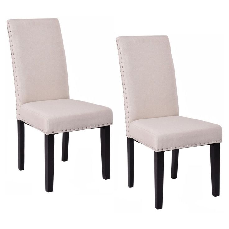 Costway Set of 2 Dining Chairs Fabric Upholstered Armless Accent Home Kitchen Furniture, Beige (Wood)