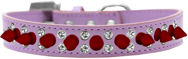 Red Spike Dog Collars with Clear Crystals