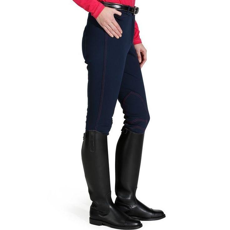 Deporte Equitación Equitación, hípica - Pantalón ACCESSY WARM azul mar FOUGANZA - Ropa del jinete