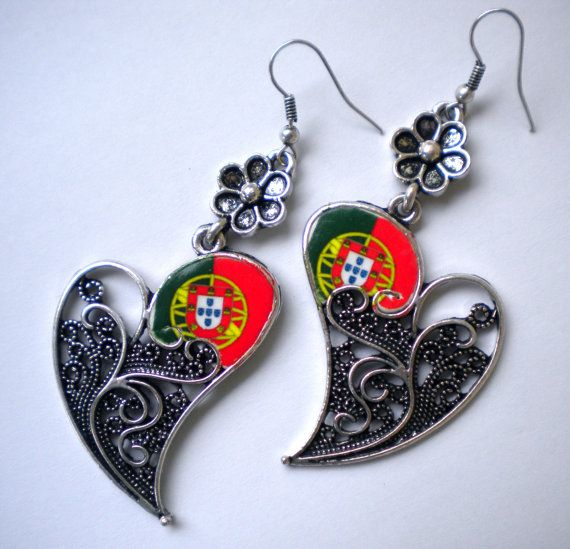 Portugal Portuguese Flags in Filigree Heart of Minho by Atrio,