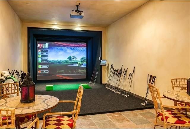 A virtual golf nook in the entertaining room