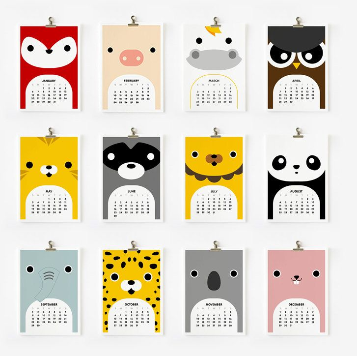 2013 Calendar Cute Animal. $15.00, via Etsy.
