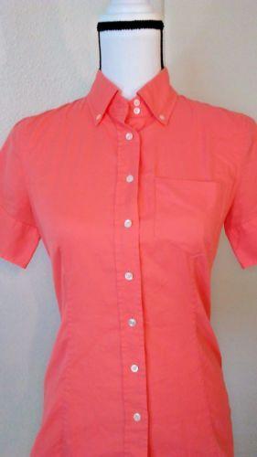 J-Crew-Womens-Shirt-French-Oxford-Size-2-Short-sleeve-Orange-Button-Down