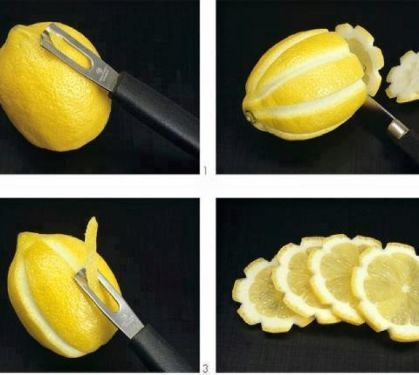 Pretty lemon slices | Quick and easy way to jazz up a pitcher of water, a mixed drink, or a plate of food. Try this to add more pizzazz to candied lemon slices, then candy the extra zest.