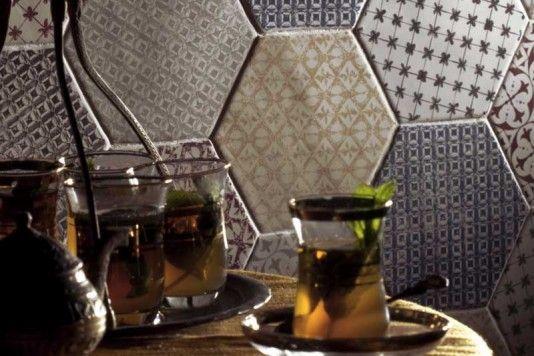 Souk Green Patchwork Hexagon Tiles 15x15cm - Tons of Tiles