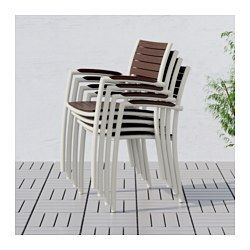 IKEA - VINDALSÖ, Chair with armrests, outdoor, The chair is easy to store when not in use, since you can stack up to 6 chairs on top of each other.You can make your chair more comfortable and personal by adding a cushion in a style you like.For added durability and so you can enjoy the natural expression of the wood, the furniture has been pre-treated with several layers of semi-transparent wood stain.The frame is made of rustproof aluminium which makes it sturdy, lightweight and maintenance…