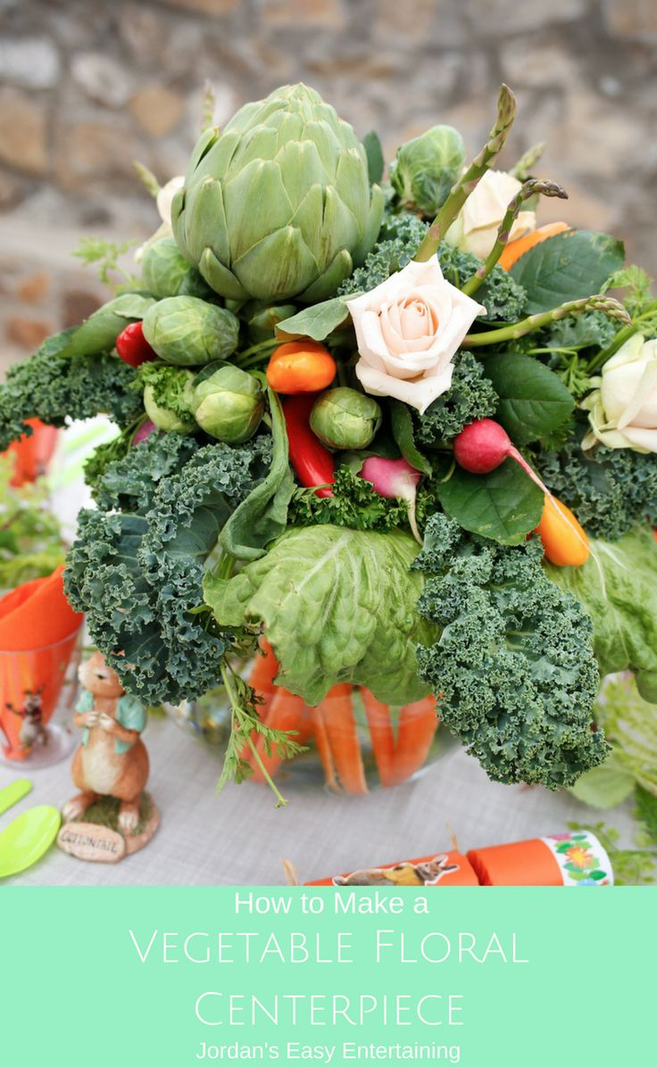 Here's a fun and unexpected way to welcome spring - with a vegetable floral centerpiece!  Follow this tutorial to learn how to make your own. #PeterRabbitParty