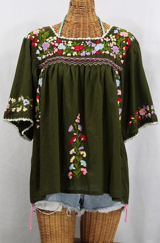 """La Marina"" Embroidered Mexican Style Peasant Blouse -Olive, via SirenSirenSiren.com $52.95"