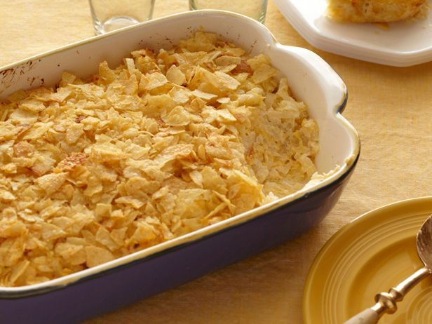 Paula Deen's Creamy Hash Brown Casserole from FoodNetwork.com A potato chip topping?  New spin on a classic.
