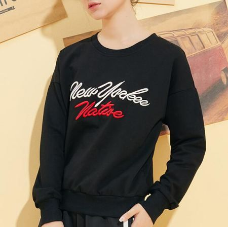 Letters embroidered sweatshirt New Yorkee nature pullovers for women