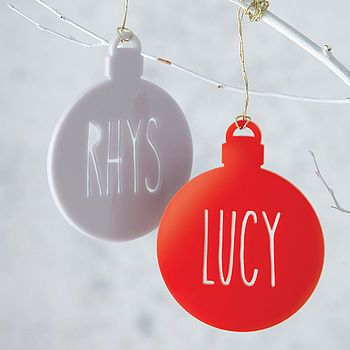 A laser cut acrylic Christmas bauble in the colour of your choice, personalised with your message.  The personalised bauble would be a perfect gift for yourself, family or friends. It is a fun and simple way to send a special message to your loved ones at Christmas.  The bauble will brighten up any Christmas tree, and you can choose the colour to match your colour scheme.