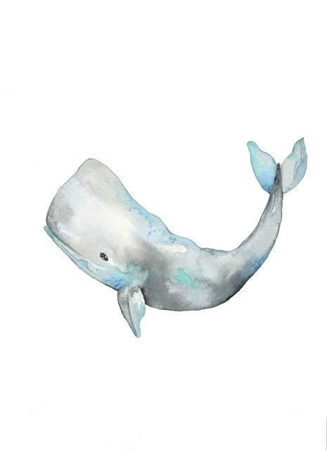 No. 2 Whale / Gray / Watercolor Print #Aquarell – – Denise Bauer