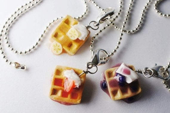 I found 'Waffle Best Friend Necklaces, MIniature Food Jewelry, Friendship necklaces' on Wish, check it out!