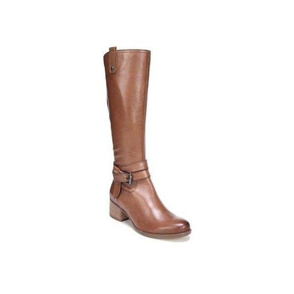 Women's Naturalizer Dev Wide Calf Riding Boot ($200) ❤ liked on Polyvore featuring shoes, boots, casual, riding boots, tan, knee high riding boots, tan knee high boots, tall knee high boots, knee high buckle boots and tan riding boots