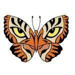 Tatouage papillon yeux tigre