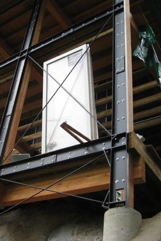 """Exposed steel / timber framing at """"Secret"""" by Oscar Flechas Architecture"""