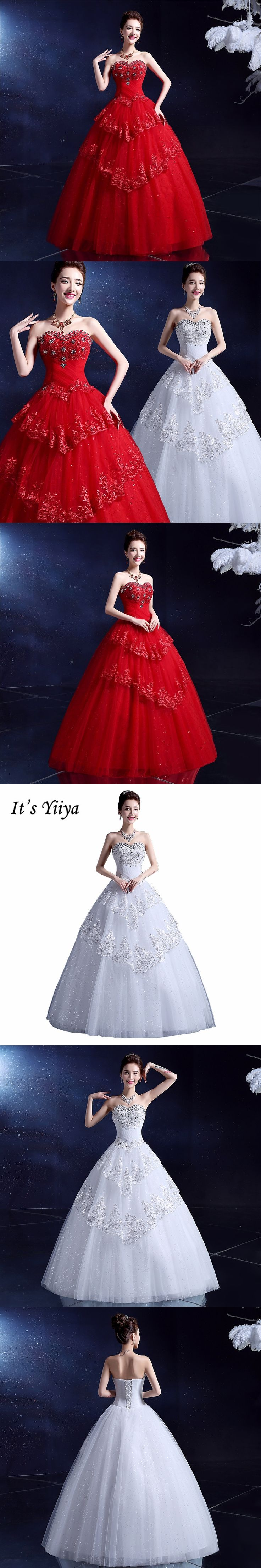 Free Shipping Plus Size Sequins Strapless Wedding Dresses White Red Princess Bride Gowns Real Photo Vestidos De Novia MY10