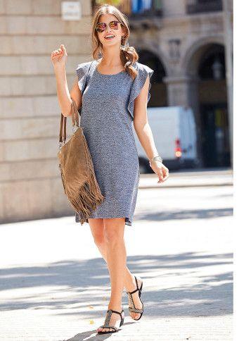 Žíhané šaty s volánovými průramky #ModinoCZ #dress #šaty