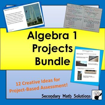 This is a bundle of 12 Algebra Projects. You can buy all twelve here at a reduced price instead of buying them individually in my store. Great for project-based assessment or alternate assessment! The 12 projects are: Defining Algebra ProjectFunctions, Independent/Dependent Variables, Domain/Range ProjectSlope in Real-life Project Linear Functions ProjectA Linear Function Written 3 Ways ProjectSystems of Equations ProjectInequalities ProjectExponents Project - only available in this…