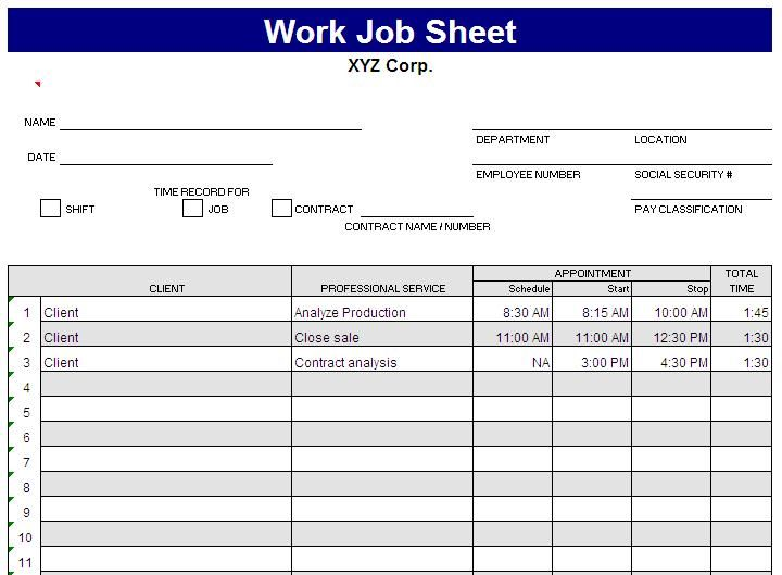 Job Sheet Format Excel