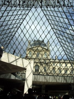Looking through the Louvre pyramid