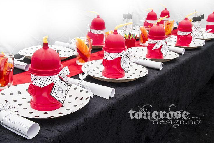 Fireman party! Table settings =) Brannmann bursdag - barnehage =)